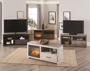 WEEKLY or MONTHLY. Rustic White Entertainment Console