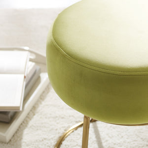 Plush Green Velvet Round Stool