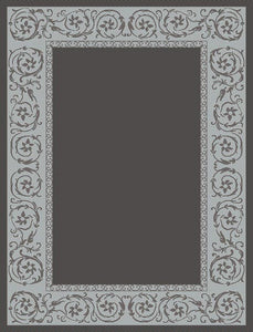 Beautiful Gray Area Rug with Twirling Flower Design