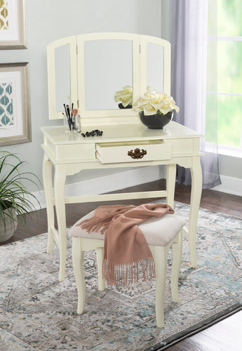Bobbie White Vanity and Stool