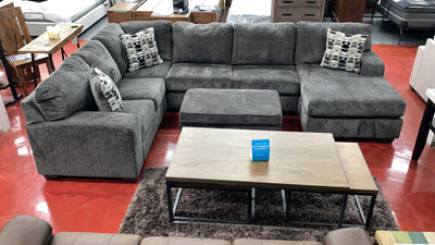 WEEKLY or MONTHLY. Ball State Smoke Chaise Sectional