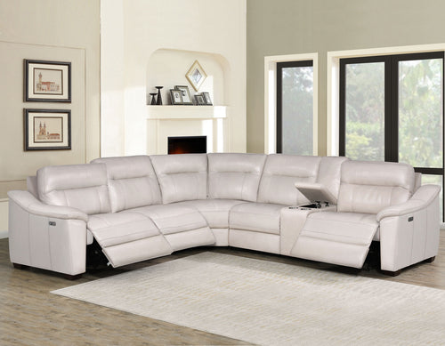 WEEKLY or MONTHLY. Ivory Casa Genuine Leather Power Sectional