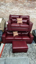 WEEKLY or MONTHLY. Crimson Red Genuine Leather Couch Set