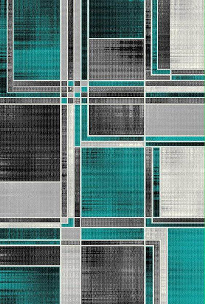 Overlapping Gray and Turquoise Rug