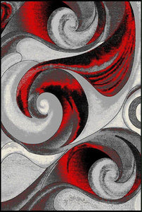 Red Hot Rug with Twirling Gray Design