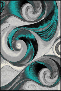 Turquoise Rug with Nice Gray Swirls