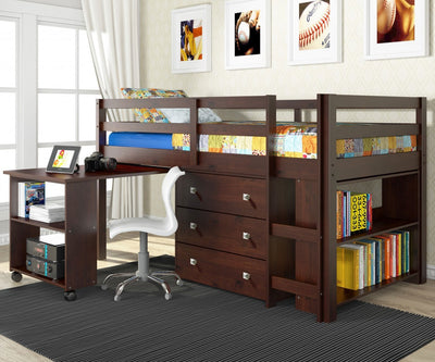 WEEKLY or MONTHLY. Cappuccino Twin Low Loft with Desk, Chest & Bookcase