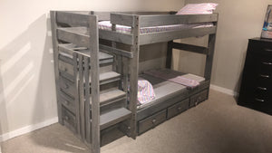 WEEKLY or MONTHLY. Driftwood Safety Stair Bunkbed