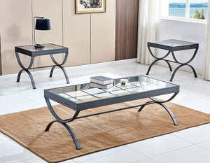 Emerson Glass Top Cocktail Table & 2 Ends