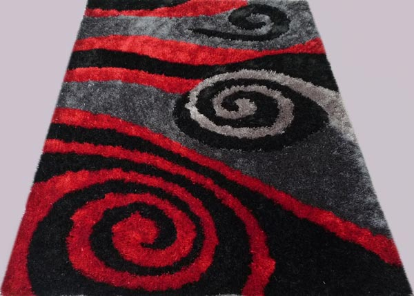 Red Twirl and Gray Twirl Rug