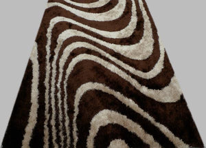 White Wavy Lines in Chocolate Rug