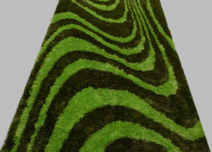 Black and Green Wave Lines Rug