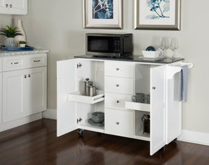 WEEKLY or MONTHLY. France Kitchen Cart in White