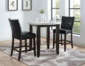 WEEKLY or MONTHLY. Francis Round Marble Top Counter Table & 2 Counter Chairs