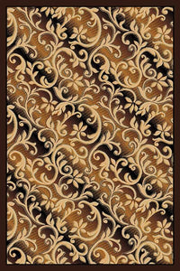 Rug with Black Border in Swirls of Flowers Design