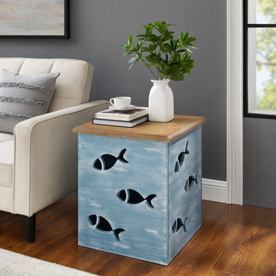 Goldie Blue Fish Side Table with Storage