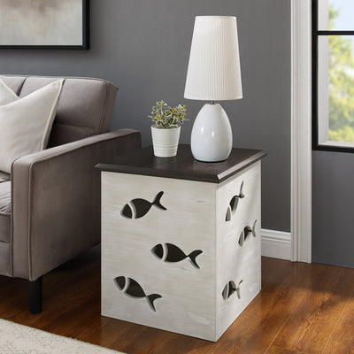 Goldie Cream Fish Side Table with Storage