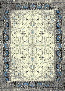 Beautiful Rug with Spots of Blue Design