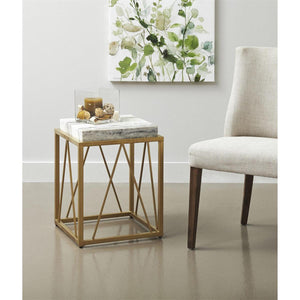 Natural Stone Top Accent Table