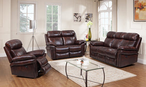 WEEKLY or MONTHLY. Brown Hoplin Joplin Leather Couch Set
