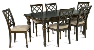 "WEEKLY or MONTHLY. Lattice Dining Table w/ 18"" Leaf & 6 Side Chairs"