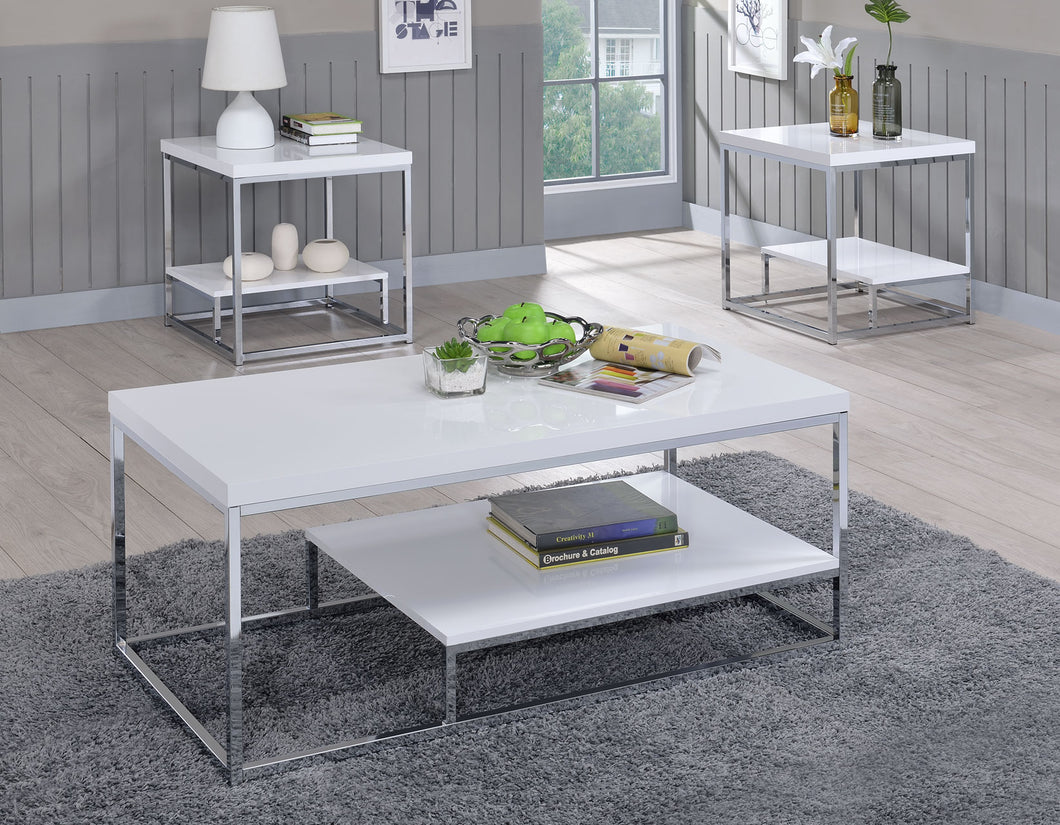 WEEKLY or MONTHLY. Lucia Glossy White Cocktail Table & 2 End Tables