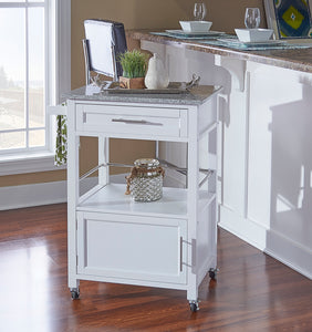 WEEKLY or MONTHLY. Michelin Kitchen Cart with Granite Top in White