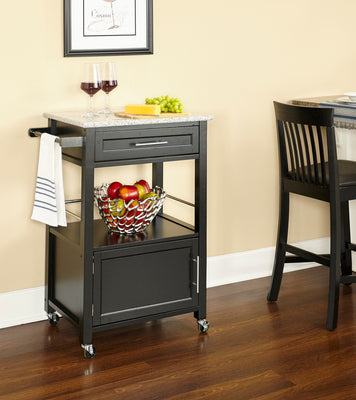 WEEKLY or MONTHLY. Michelin Kitchen Cart with Granite Top in Black