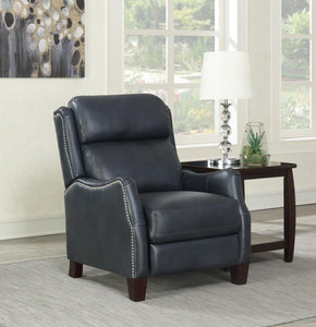 WEEKLY or MONTHLY. Andrew Blue Leather Press-Back Recliner
