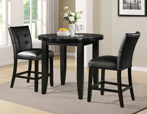 WEEKLY or MONTHLY. Markina Round Marble Top Table & 2 Side Black Chairs