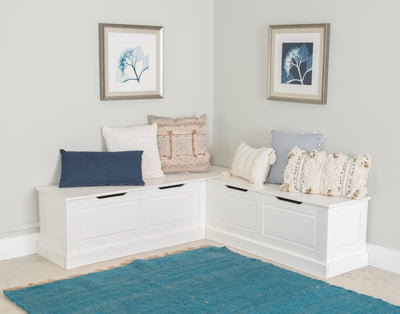 WEEKLY or MONTHLY. Norah Backless White Complete Corner Nook