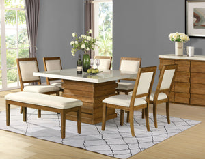 WEEKLY or MONTHLY. Philamer Marble Top Dining Table & 6 Chairs & Bench