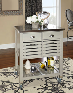 Weekly or Monthly. Gray Robbin Wood Kitchen Cart