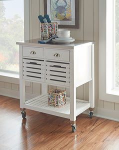 Weekly or Monthly. White Robbin Wood Kitchen Cart