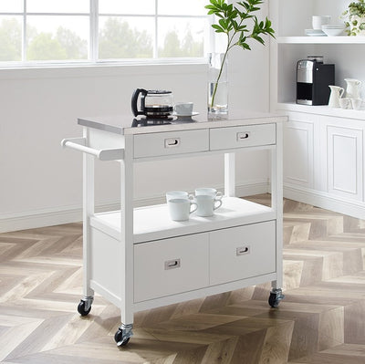 WEEKLY or MONTHLY. White Sydney Kitchen Cart