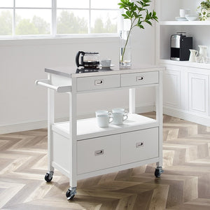 WEEKLY or MONTHLY. White Sidney Kitchen Cart