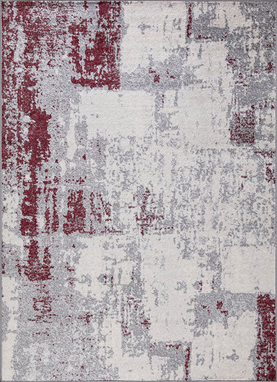 Foggy Design with Scarlet Accents Rug