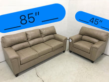 WEEKLY or MONTHLY. Soft Touch Genuine Couch Set in Bark