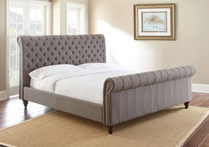 WEEKLY or MONTHLY. Swan Tufted QUEEN Bed in Grey