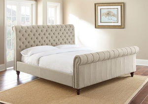 WEEKLY or MONTHLY. Swan Tufted QUEEN Bed in Sand