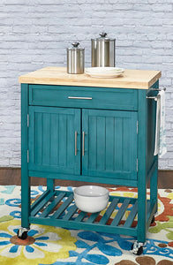 WEEKLY or MONTHLY. Teal Sydney Kitchen Cart