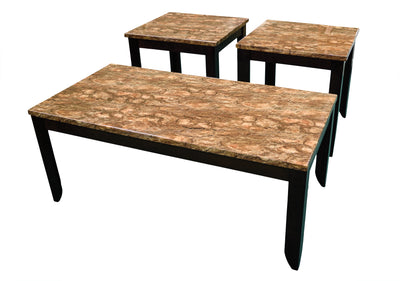 Desert Barkstone Cocktail Table & 2 End Tables