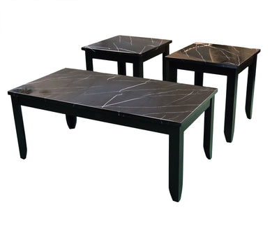 Crackle Black Marble Cocktail Table and 2 End Tables