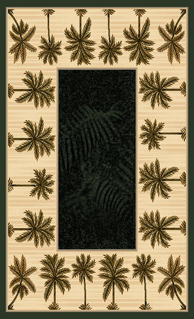 Black Palm Trees Tradition Woven Area Rug