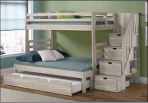 WEEKLY or MONTHLY. Snow Boss TWIN/FULL Bunk with Safety Stair and 4 Drawers