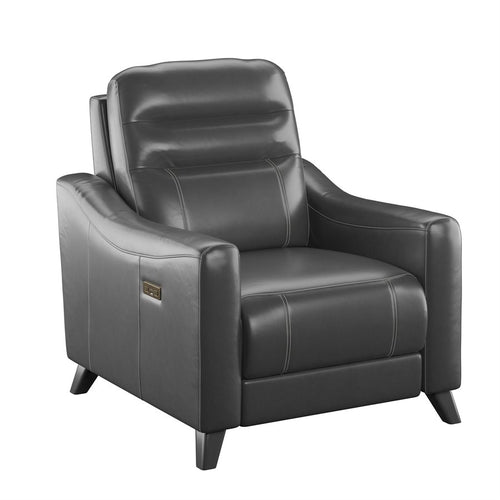 WEEKLY or MONTHLY. Amos Leather Power Recliner with Power Headrest