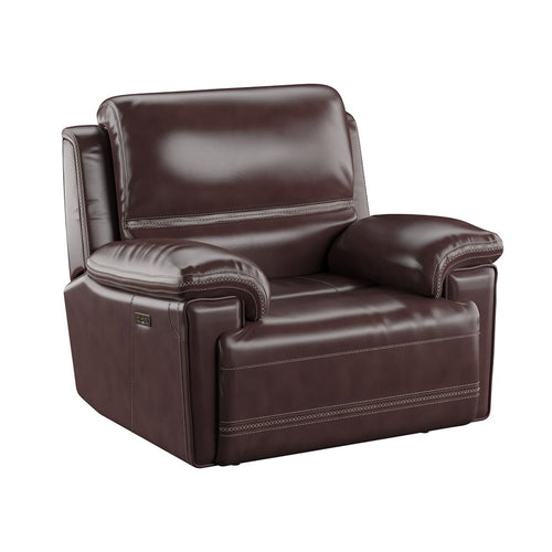 WEEKLY or MONTHLY. Bernard Leather Brown Power Recliner with Power Headrest