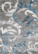 Soft Rug with Blue and White Vines