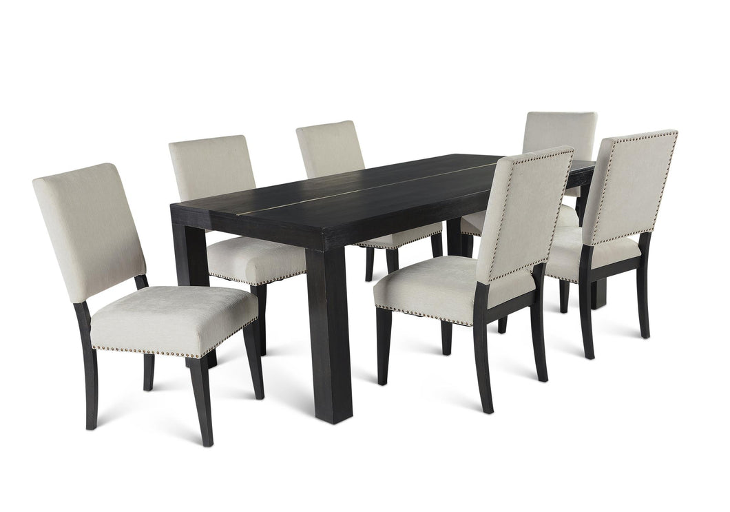 WEEKLY or MONTHLY. Vince Dining Table & 6 Side Chairs w/ Stretchers