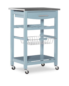 Joey Blue Stainless Top Kitchen Rolling Cart